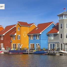 Waterfront houses in various colors in Groningen, Netherlands