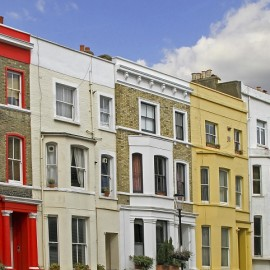 Row of colorful residential houses on London street